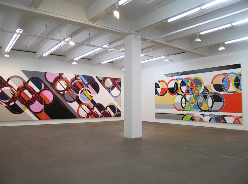 Robert Towne, Ring Paintings and Origami Friedrich Petzel Gallery Installation 2007