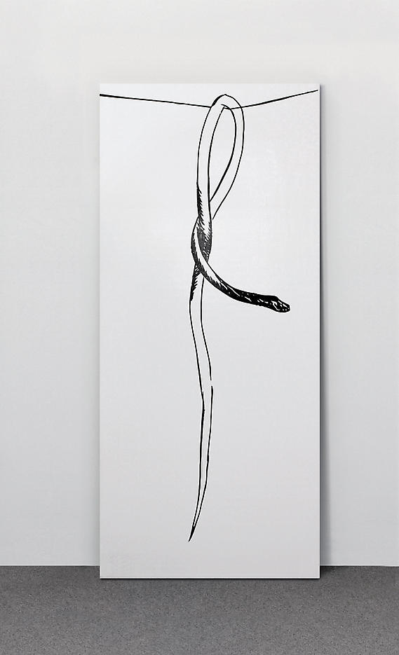 Wilhelm Sasnal: Untitled 2006, edition of 15, 3 AP screenprint (glossy black) on white painted wood door panel 78 ¾ x 35 ½ x 1 ½ inches/200 x 90 cm
