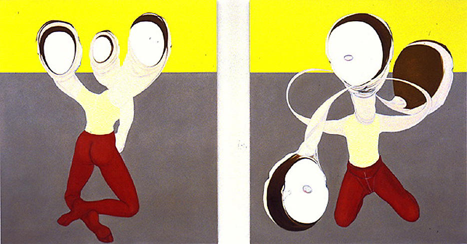 2 Figures, Six Heads 1995 oil on linen 56 x 50 inches/142.2 x 127 cm