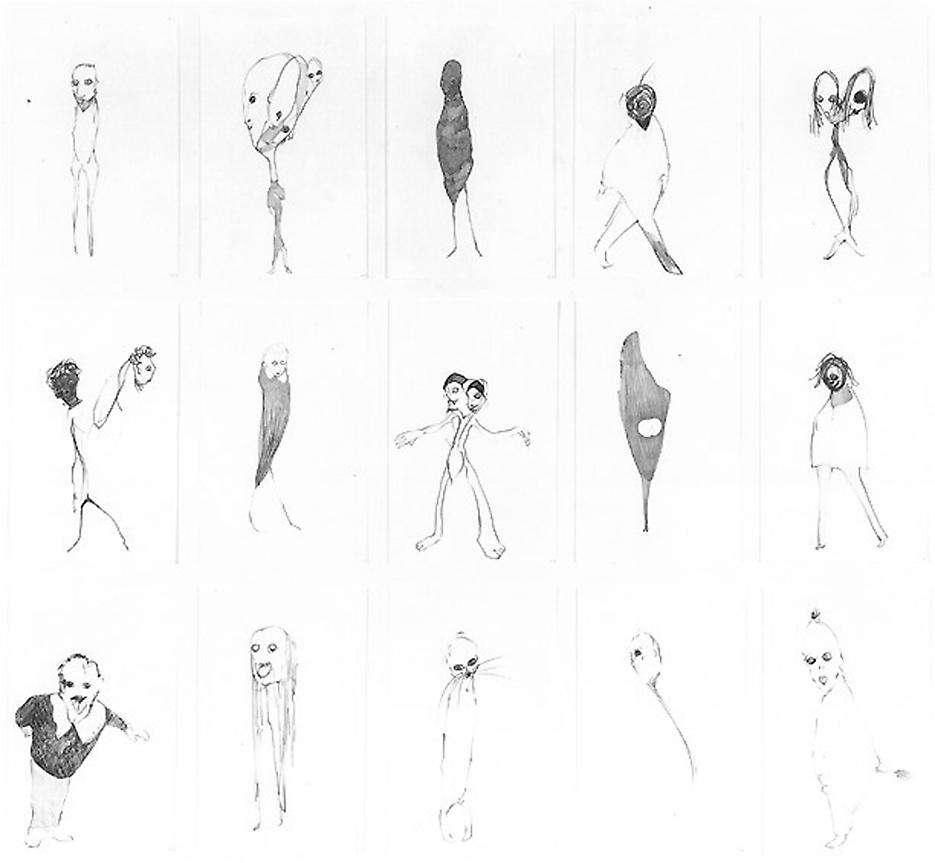 Group # 7 1994 graphite on paper, set of 15 drawings 30.5 x 33.5 inches/77.5 x 85.1 cm