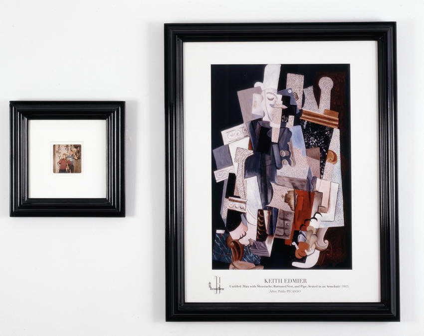 Bremen Towne - Untitled (Man with Moustache, Buttoned Vest, and Pipe, Seated in Armchair)  diptych, 2008, digital offset, family photograph, black gloss, painted hardwood frame