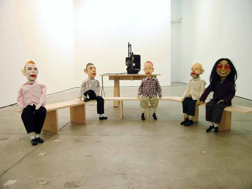 Untitled 2005 5 puppets each with ceramic head, feet and hands, synthetic hair, clothes, stuffing, Ed. of 4