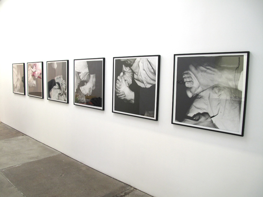hand and foot to mouth 1989/2003 b/w photographs on PE paper 33.46 x 33.46 x 1.18 inches/85 x 85 x 3 cm (framed)
