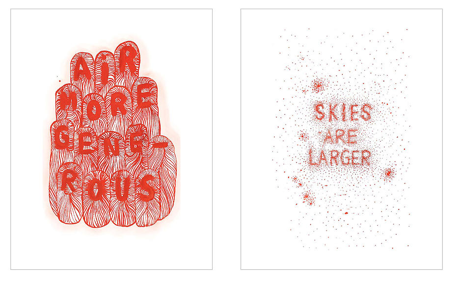 skies are larger, air more generous 2008 vermillion pigment on paper each: 30.25 x 22.5 inches/76.8 x 57.2 cm