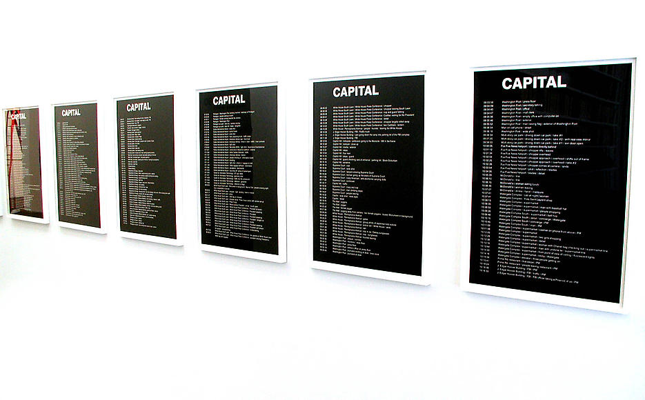 Capital Timecodes		 2001 set of 10 framed silkscreens on somerset paper,  colophon page, box, edition of 3