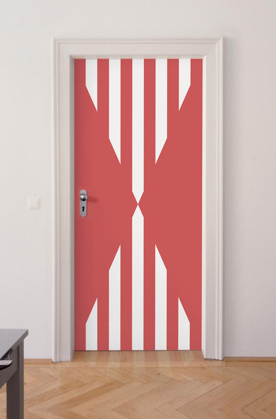 Daniel Buren: Untitled (Door) 2006, edition of 15, 3 AP, each unique in color and size glass door with translucent and opaline foil concealed between two sheets of security glass