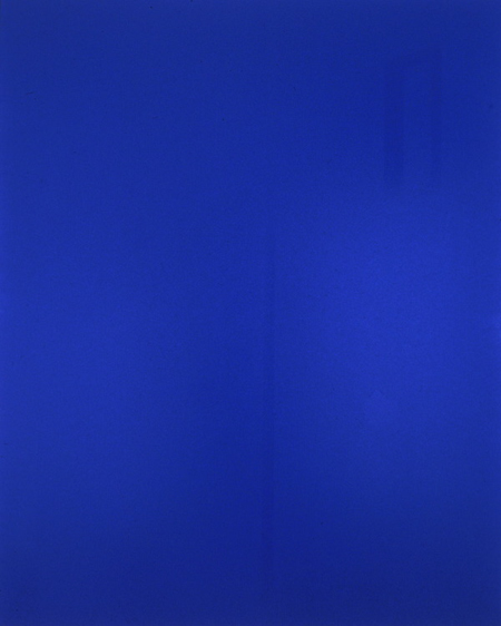 Push Comes to Love: Bright Blue 1999 photo screenprint with acrylic and acrylic enamel on canvas 59.375 x 47.625 inches/150.8 x 121 cm