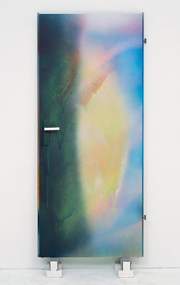 Katharina Grosse: Untitled 2006, edition of 15, 3 AP, each painting unique acrylic on wood door, hand-painted by the artist 78 x 34 inches/198.5 x 86 cm