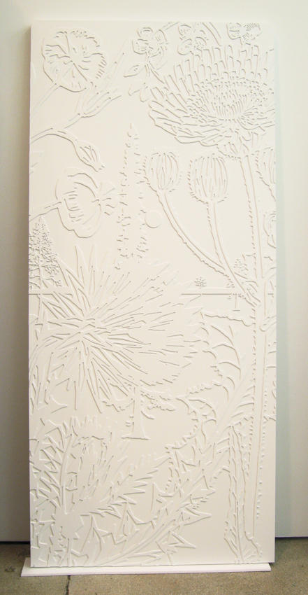 Paul Morrison: Hilum 2006, edition of 15, 3 AP epoxy resin cast from laser cut relief, lacquered white, on a wood door panel 77.245 x 34.5 x 2 inches/196 x 88 x 4.8 cm