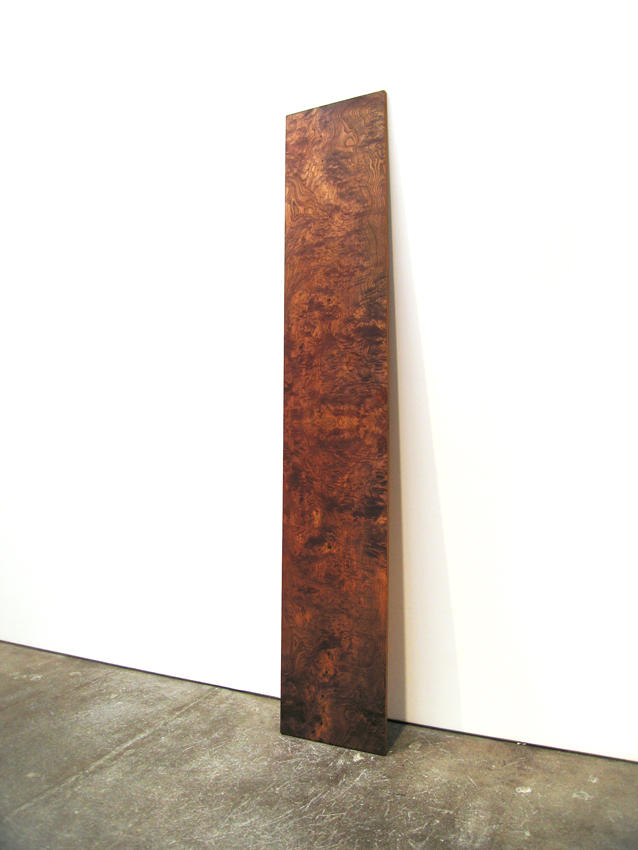 Jorge Pardo: Shop Plywood 1989 birch plywood, olive ash burl veneer, oil paint, Danish oil 96 x 17 x 1.625 inches/243.8 x 43.2 x 4.1 cm