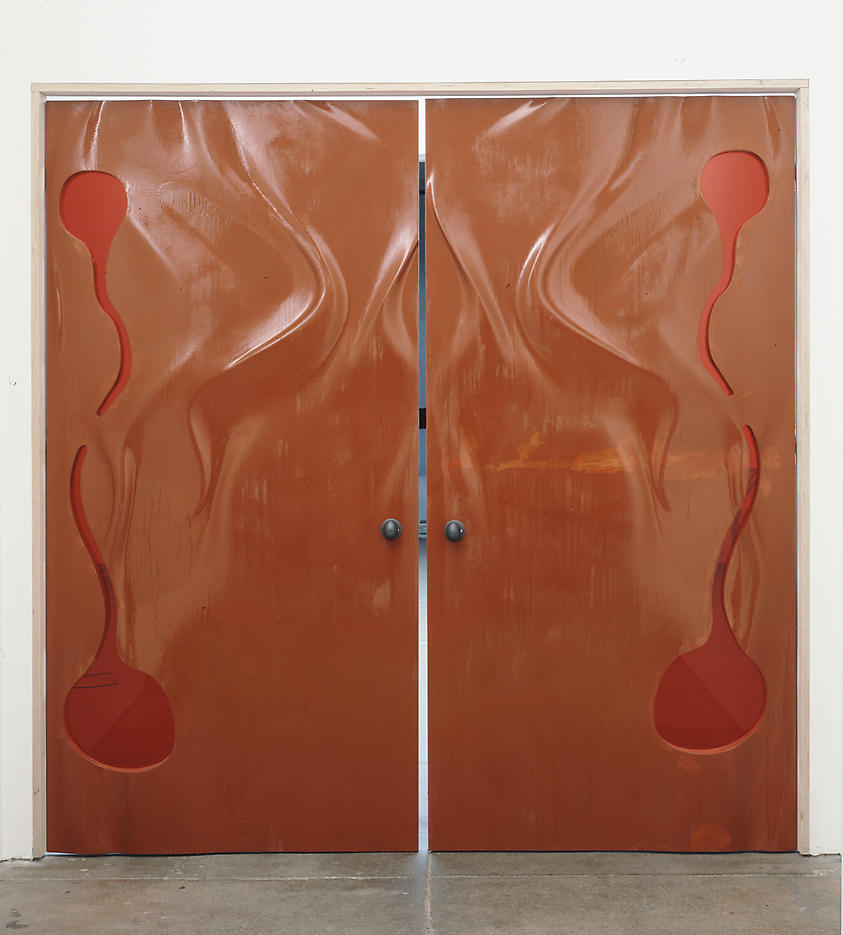 Untitled (doors) 2004 painted MDF, Plexiglas 92 x 90 inches/233.7 x 228.6 cm