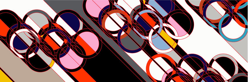 2008 [Rings] 2007 household gloss paint on canvas 113.78 x 341.34 inches/289 x 867 cm