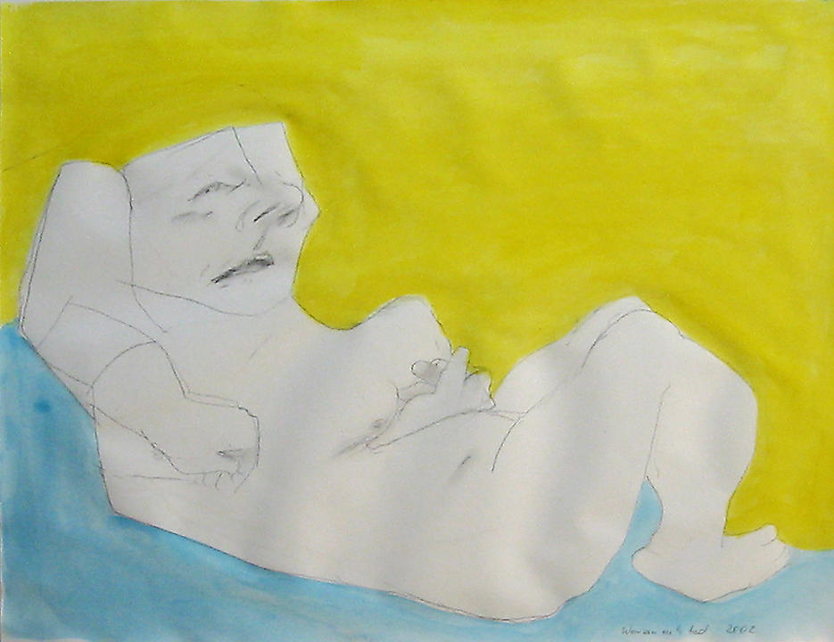 Woman in the Bed 2002 pencil and watercolor on paper 19.75 x 25.25 inches/50.2 x 64.1 cm