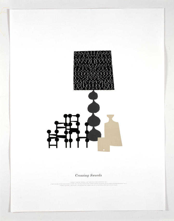 Crossing Swords 2006 letterpress on paper framed: 40.55 x 31.3  inches/103 x 79.5 cm
