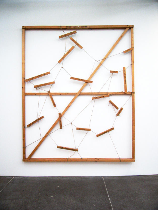 Georg Herold: Russische Schweiz 1988 inscribed wooden boards, cord 110.24 x 90.55 inches/280 x 230 cm