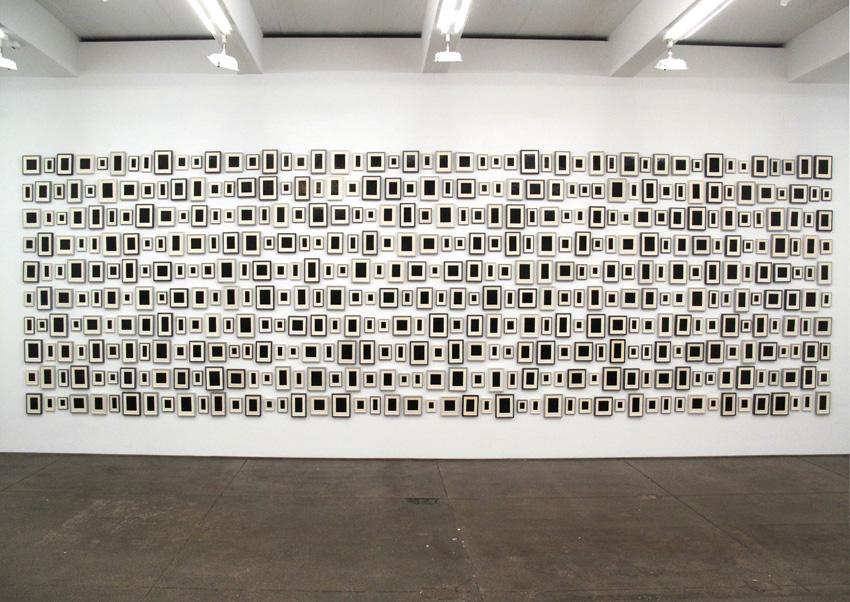 Allan McCollum Collection of  480 Plaster Surrogates 1982/1989 Gray Frames Enamel on cast Hydrostone