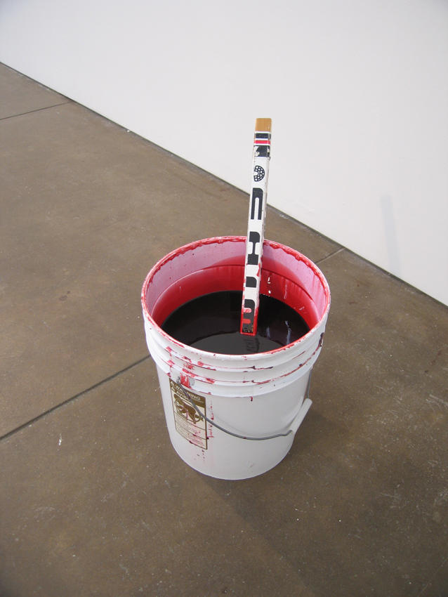 Chris Hanson & Hendrika Sonnenberg: Bucket of Blood 2004 5 gallon bucket, corn syrup, vodka, food coloring, stick 18 x 12 x 12 inches/45.7 x 30.5 x 30.5 cm