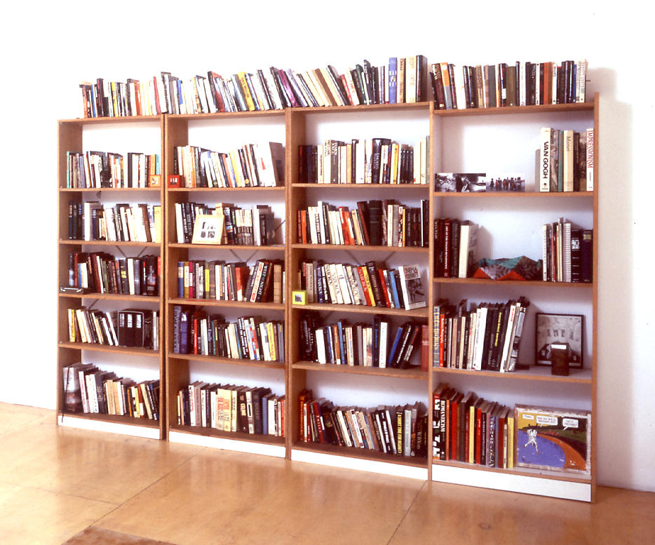 Jorge Pardo: Portrait of George Porcari 1995 wood shelving, books, and mixed objects 85 x 118 x 12 inches/215.9 x 299.7 x 30.5 cm