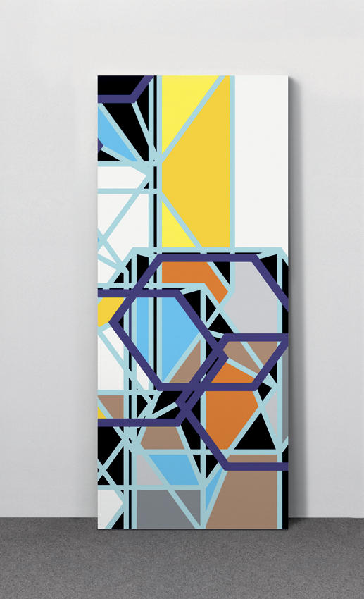 Sarah Morris: Endeavor [Los Angeles] 2006, Edition of 15, 3 AP silkscreen on metal door panel 83 x 35 x 1.75 inches/211 x 90 x 4.5 cm
