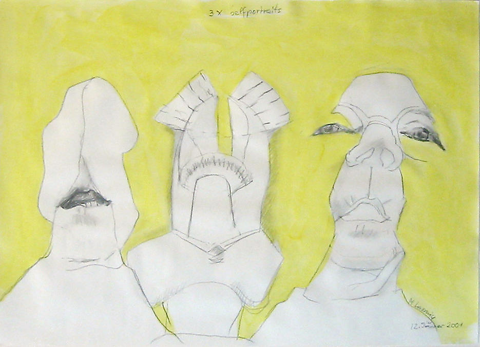 3 x self portraits 2001 pencil and watercolor on paper 17.25 x 23.375 inches/43.8 x 59.4 cm
