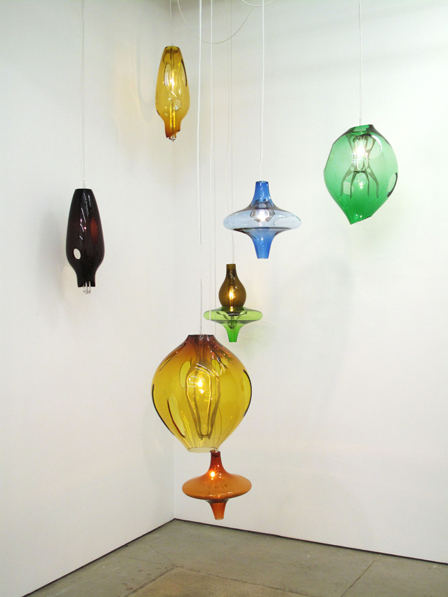 Jorge Pardo Untitled (set of 7 hanging lamps) 2008 glass, aluminum variable dimensions
