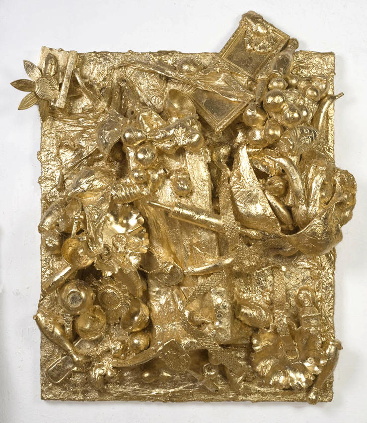 Dirty, Sexy Money 2007 gold leaf, plaster, paper maché, Styrofoam, plastic objects on hollow-core door 55 x 45 x 13 inches/139.7 x 114.3 x 33 cm