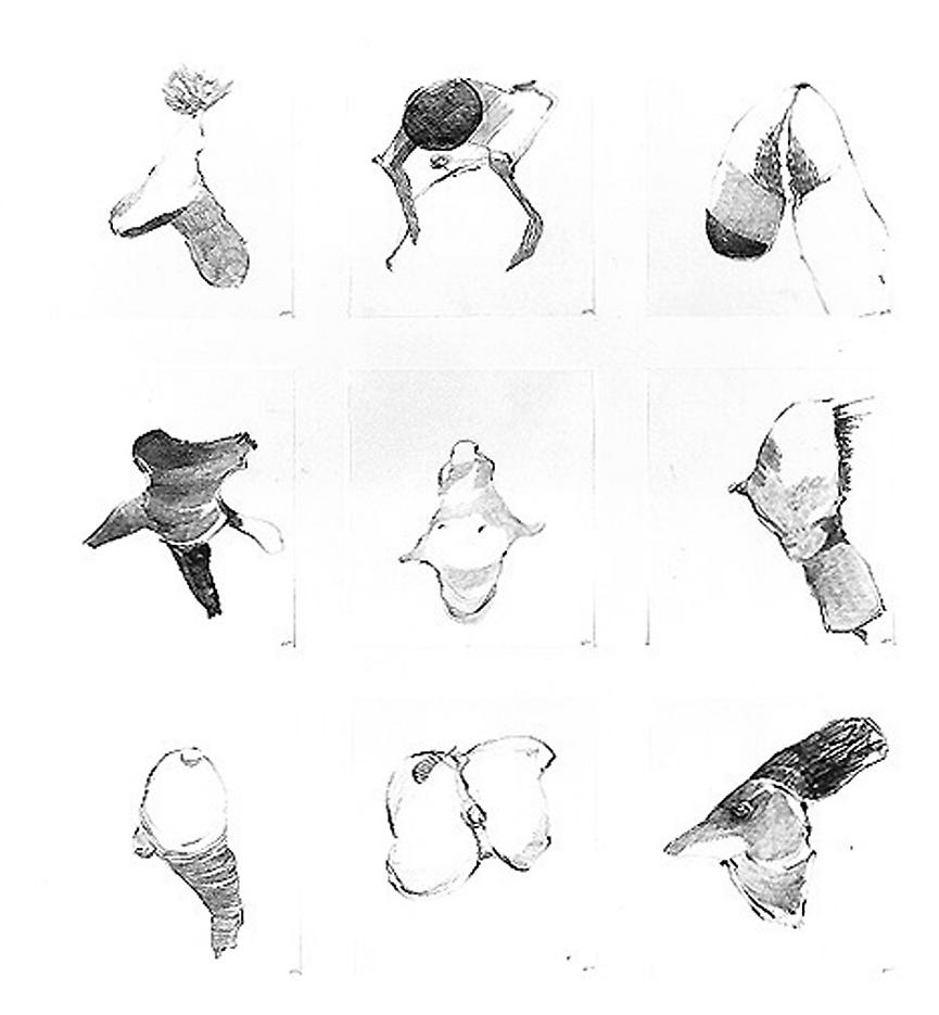 Group #55 1999 set of 9 drawings, graphite on paper 32 x 28 inches/81.3 x 71.1 cm
