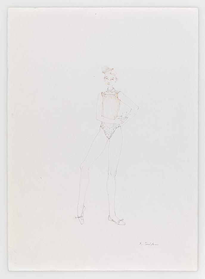 Dancer with Playing Card 2010 Pencil on paper 20.87 x 14.96 inches