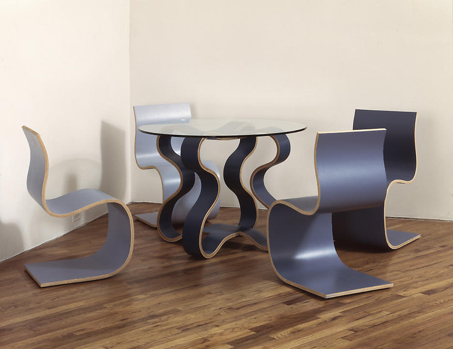 Halley's, Ikeya-Seki, Encke's 1996 5 elements: wood, lacquer, glass table 29 x 41 x 41 inches; 4 chairs: 32 x 20 x 17 inches