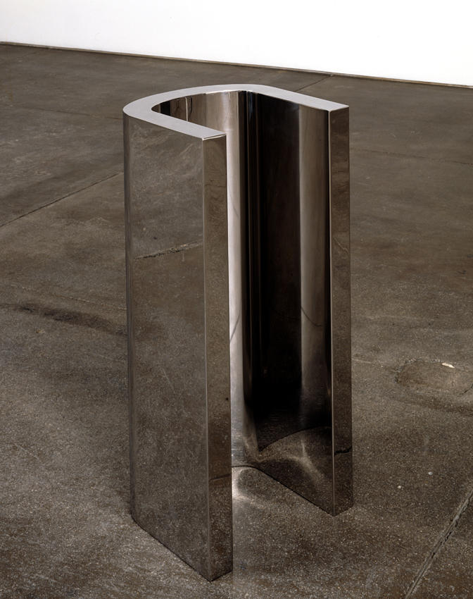 Wade Guyton: U Sculpture 2005 mirrored stainless steel, ed. of 3 39 .25 x 18 x 16.4 inches/99.7 x 45.7 x 41.7 cm