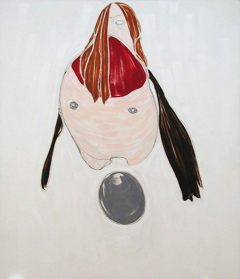 Self-Portrait Laying Egg 2002 oil on linen 72 x 84 inches/182 x 213.36 cm