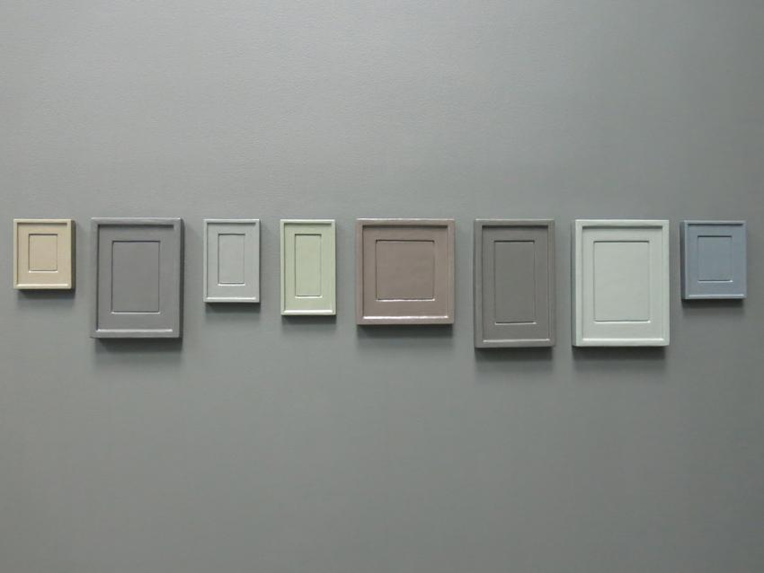 Allan McCollum in collaboration with Andrea Zittel Collection of Eight Plaster Surrogates  Mold: 1982, Cast: 1993, Painted: 2013 Enamel on cast Hydrostone  Installed Dimensions: 9.5 x 55 inches; 24.1 x 139.7 cm