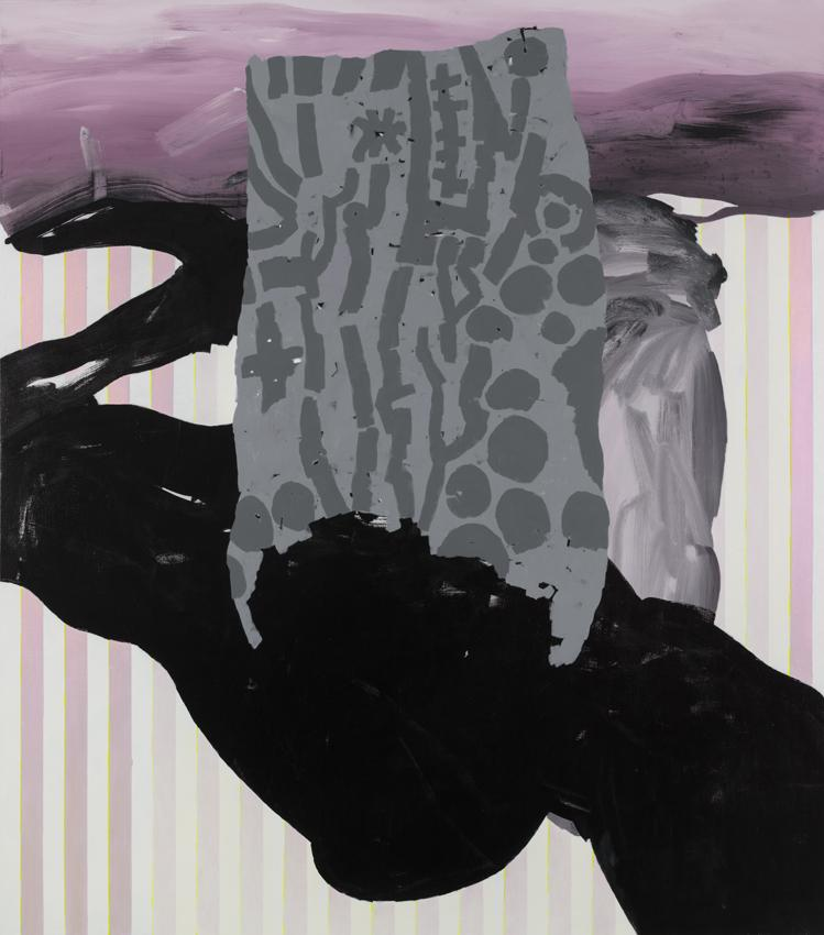 Charline von Heyl  Slow Tramp 2012 Oil, acrylic and charcoal on canvas 82 x 72 inches 208.3 x 182.9 cm