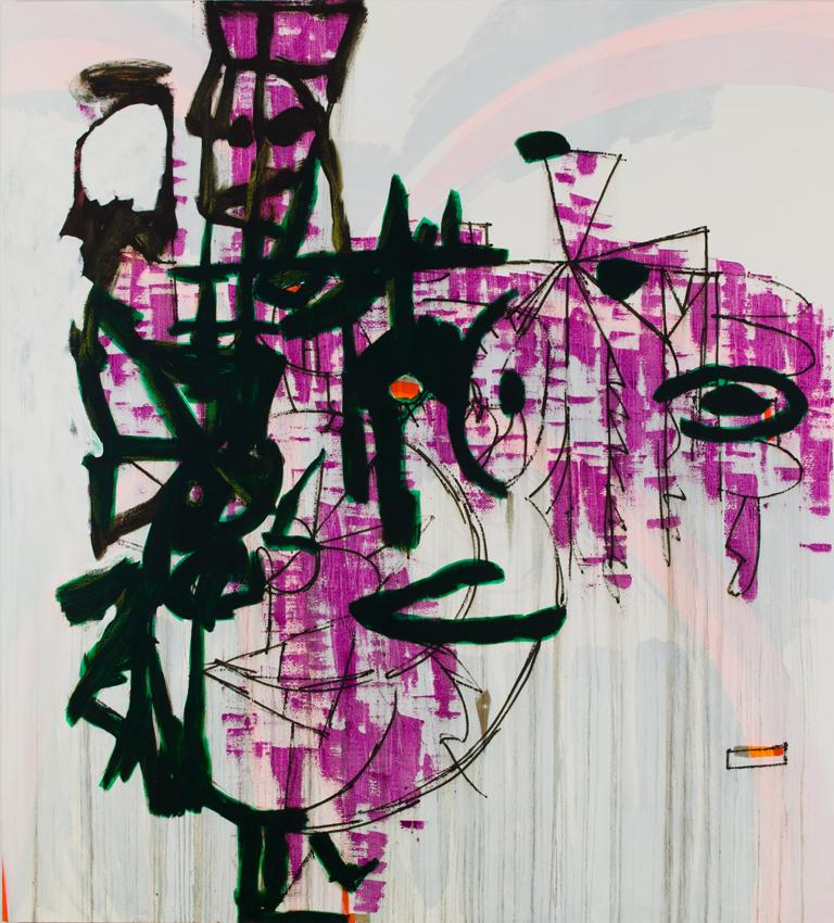 Charline von Heyl <i>Jakealoo</i> 2012 Oil and acrylic on canvas 82 x 74 inches 208.3 x 188 cm