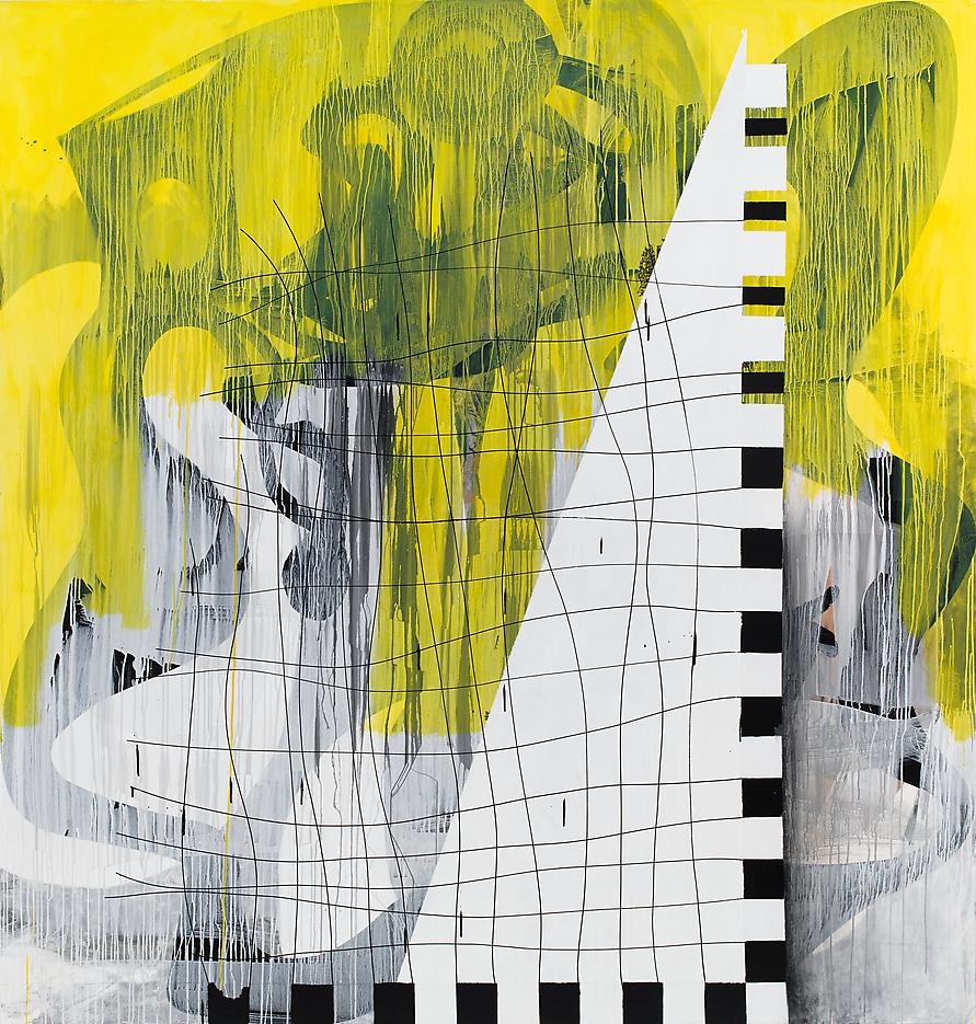 Charline von Heyl <i>Guitar Gangster</i> 2013 Acrylic on canvas 86.5 x 82.25 inches 219.7 x 208.9 cm