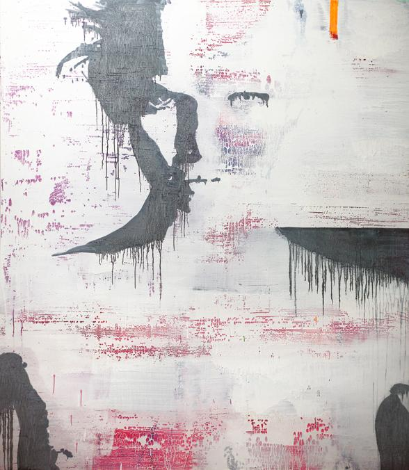 Dirk Skreber <i>Untitled</i> 2012 Oil, acrylic, fluorescent paint, spray paint on wood 87 x 75 x 2.5 inches