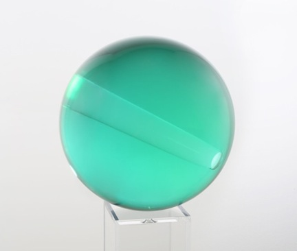 Helen Pashgian <i>Untitled (green with acrylic insert)</i> 2014 Resin and acrylic 7 inches diameter