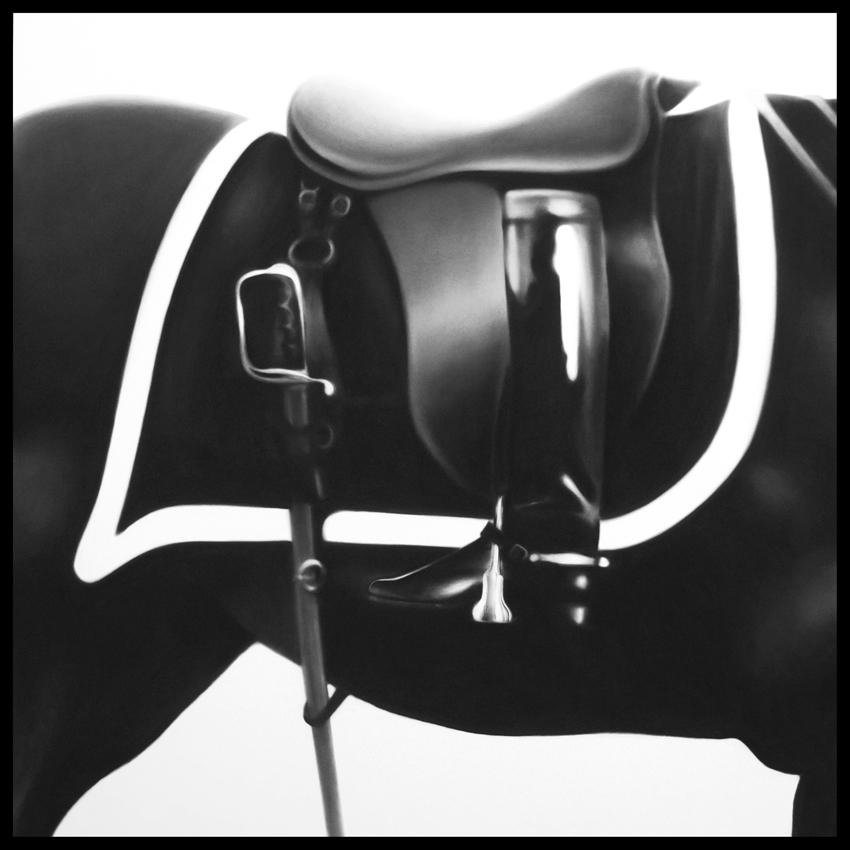 <i>Untitled (Black Jack Boot)</i> 2014 Charcoal on mounted paper 63 x 63 inches; 160 x 160 cm