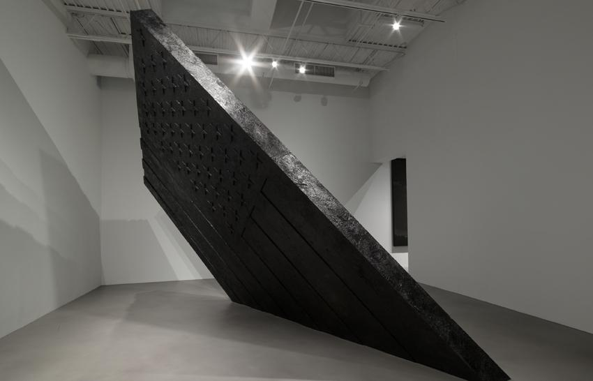 <i>Untitled (The Pequod)</i> 2014 Steel, wood, wax and pigment 207 x 192 x 12 inches