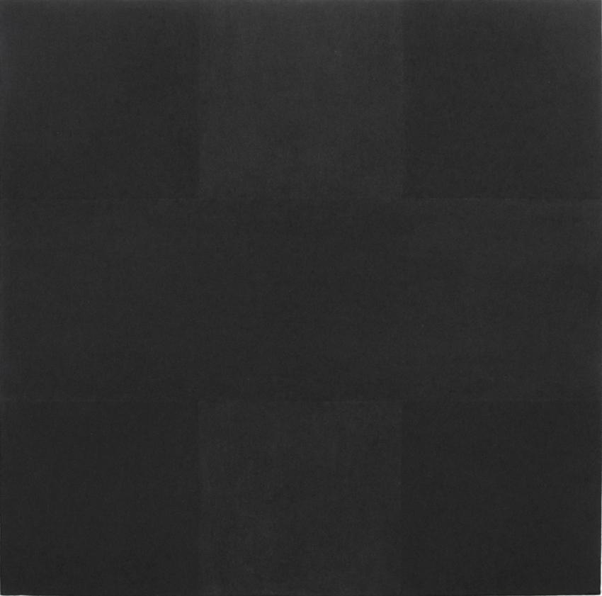 <i>After Reinhardt (Abstract Painting, 1963)</i> 2014 Charcoal on mounted paper 11.9375 x 12 inches
