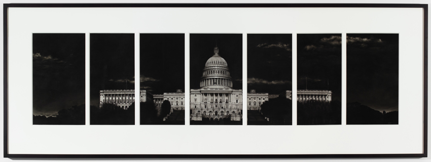 <i>Study for Capitol (7 Parts)</i> 2014 Ink and charcoal on mounted paper 21 x 78.75 inches