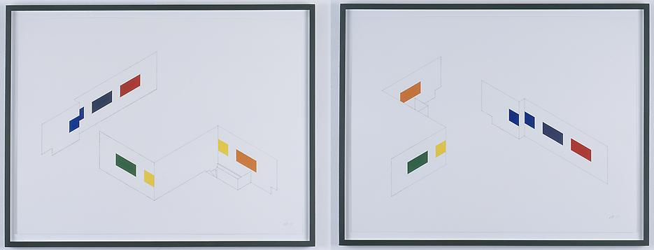 Morgan Fisher <i>Drawing for Pendant Pair Paintings (isometric)(two parts)</i> 2007 Pencil and acrylic on paper 3 works: 18 x 24 inches each