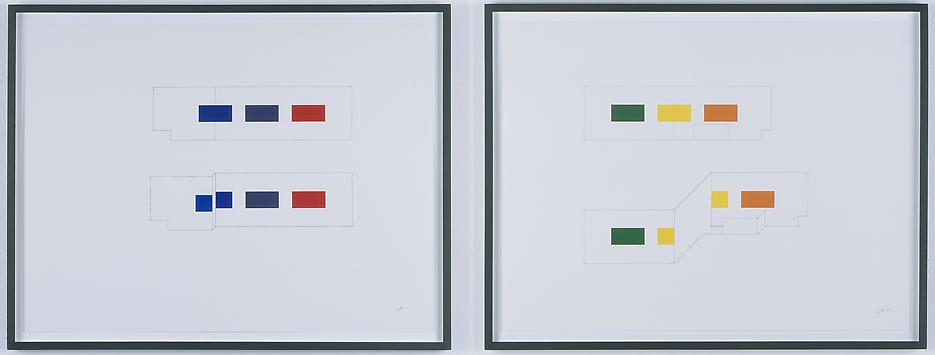 Morgan Fisher <i>Drawing for Pendant Pair Paintings (orthographic and oblique)</i> 2007 Pencil and acrylic on paper 3 works: 18 x 24 inches each