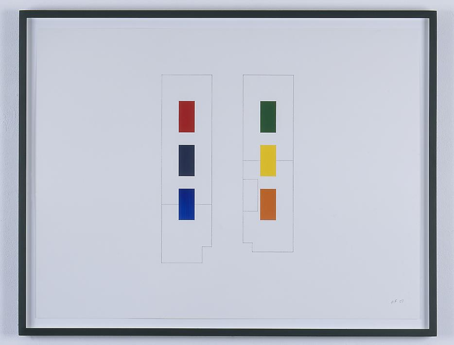 Morgan Fisher <i>Drawing for Pendant Pair Paintings (orthographic)</i> 2007 Pencil and acrylic on paper 3 works: 18 x 24 inches each