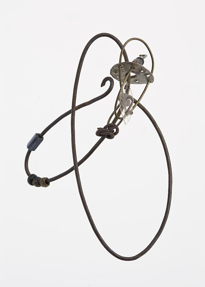 Jay DeFeo <i>Untitled</i> c.1953-55 Iron wire, brass wire, silver, clear plastic, brass beads and glass beads 2 1/8 x 1 1/2 x 1/2 inches