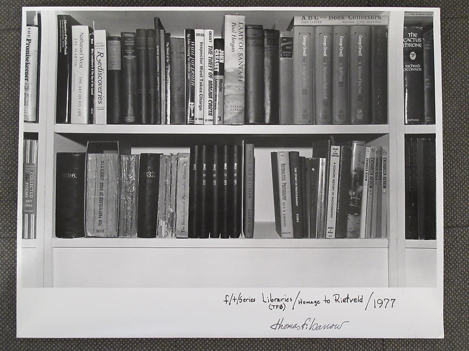 Thomas Barrow <i>F/T/S Libraries - (TFB) Homage to Rietvold</i> 1977 Gelatin Silver Print 11 x 14 inches