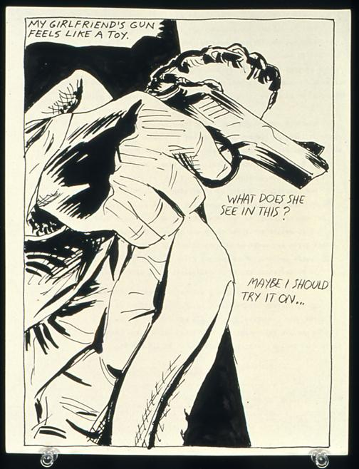 Raymond Pettibon <i>No Title (My girlfriend's gun)</i> 1985 Pen and ink on paper 11 1/2 x 8 inches