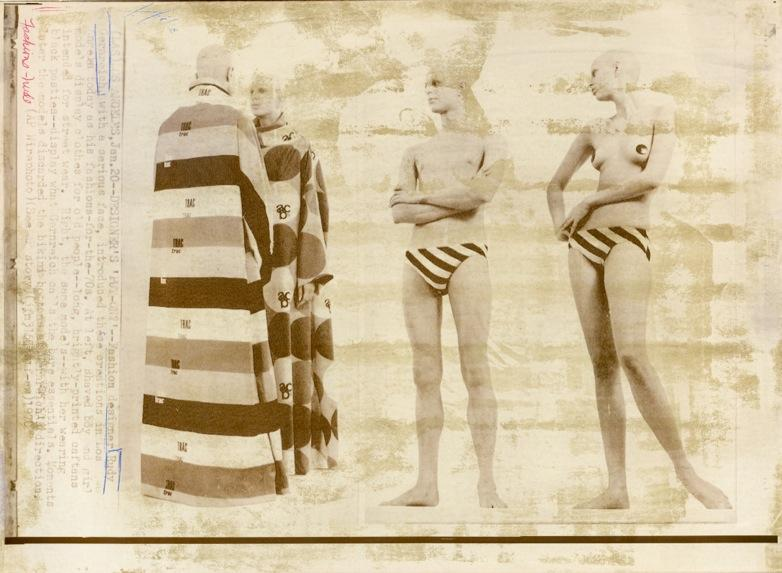 Rudi Gernreich <i>Designs for Caftans and Unisex Bathing Suits</i> 1970 Photograph, newsprint 8 x 11 inches