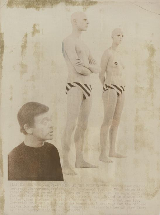 Rudi Gernreich <i>Designs for Unisex Bathing Suits</i> Photograph, newsprint 10.312 x 7.875 inches