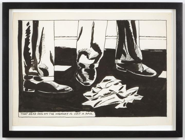 Raymond Pettibon <i>No Title (That dead dog)</i> 1984 Pen and ink on paper 10.25 x 14.5 inches